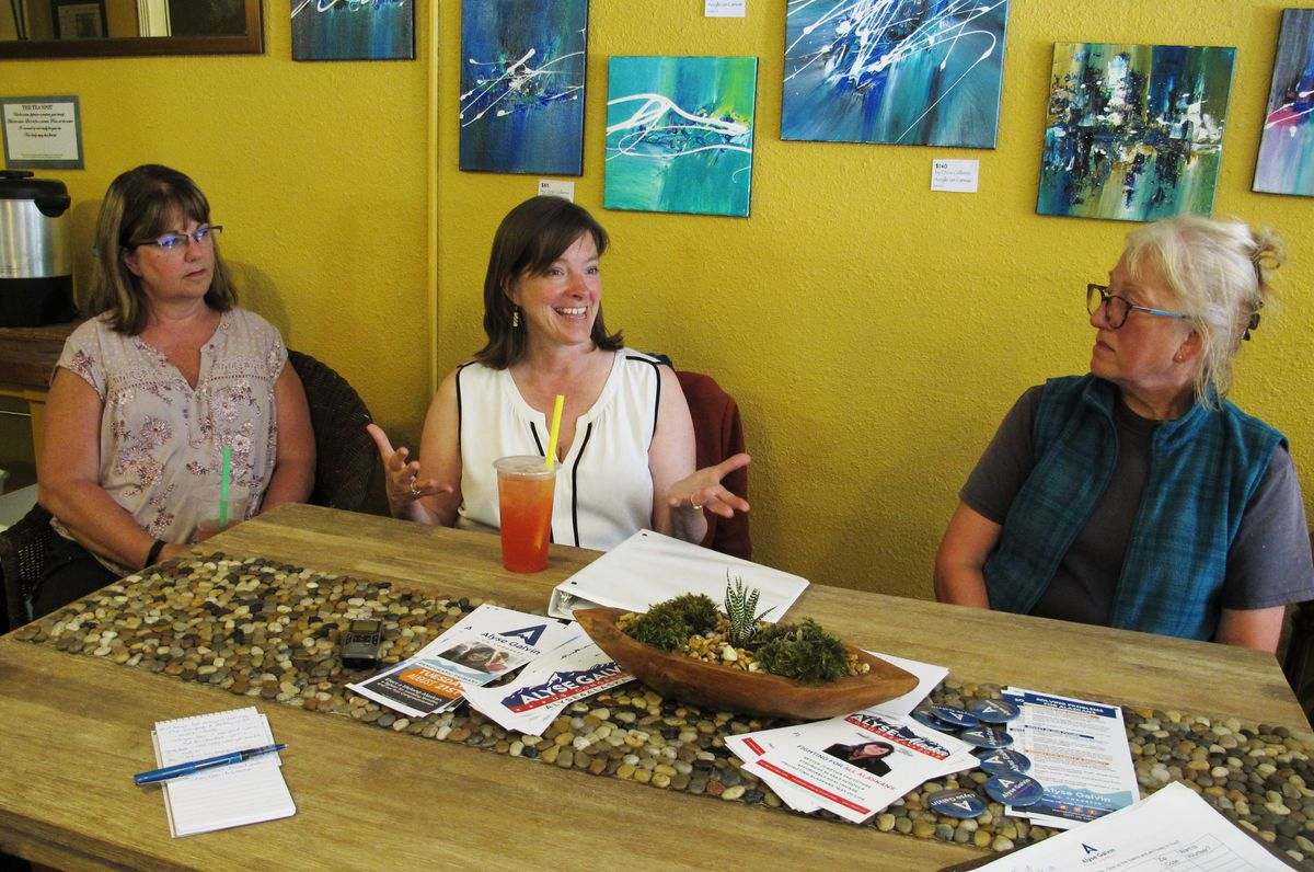 In this Aug. 5, 2018, photo, independent U.S. House candidate Alyse Galvin, center, speaks during a meet-and-greet at a tea shop in Juneau, Alaska. Galvin is running in the Aug. 21 Democratic primary for U.S. House in Alaska. The state Democratic party changed its rules to let independents run in its primary. (AP Photo/Becky Bohrer)