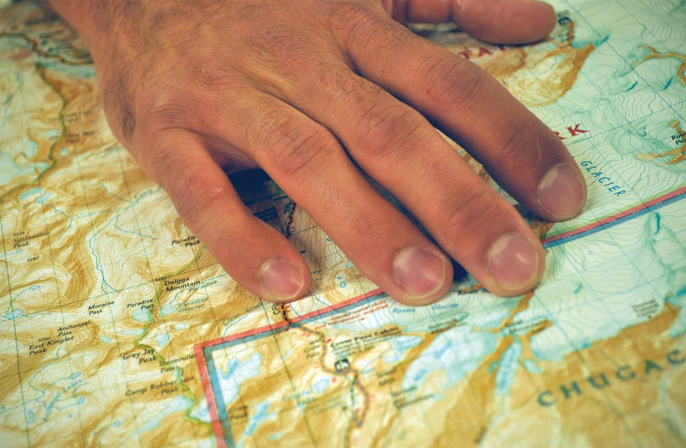 Anchorage resident Gerrit Verbeek has a souvenir from his September 2015 climb of Delgga Mountain: a faint scar over his right pinkie knuckle, pictured Sunday, May 14, 2017. (Vicky Ho / Alaska Dispatch News)