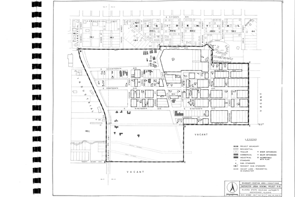 A government publication included maps of Eastchester Flats in 1965. (Alaska State Housing Authority (ASHA). Urban Renewal Plan: Eastchester Area, Project Alaska R-16, Anchorage, Alaska. Anchorage: ASHA, 1965)