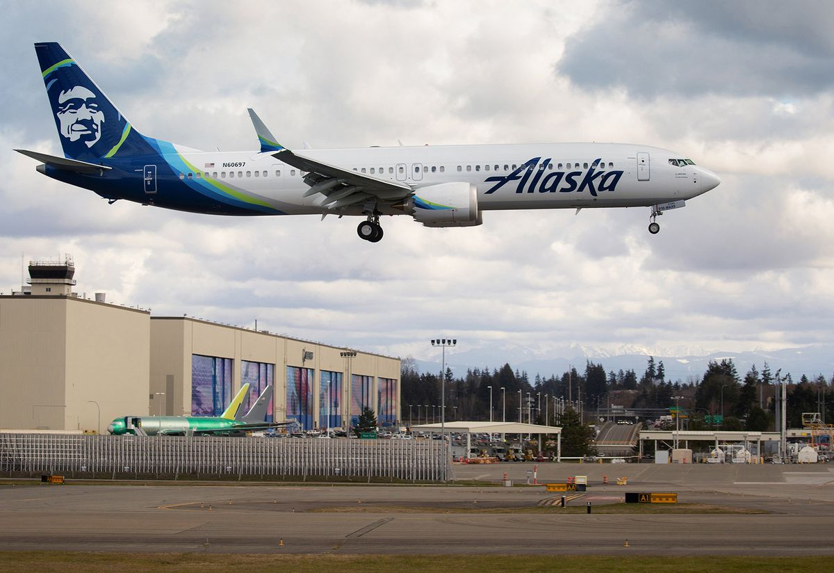 A Boeing 737 MAX-9, built for Alaska Airlines, undergoes testing as it flies past the Boeing factory in Everett Washington on March 23, 2020. (Mike Siegel/The Seattle Times/TNS)