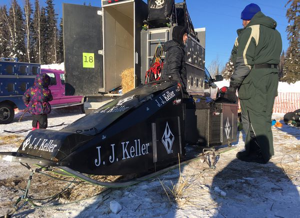 Dallas Seavey could haul multiple dogs in his sled, crafted out of carbon fiber and Kevlar. He unveiled the sled at the 2017 Iditarod Trail Sled Dog Race. (Bob Hallinen / ADN archive 2017)
