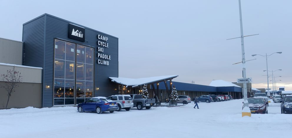 REI, pictured Dec. 2, is one of the larger stores in the Northern Lights Center at the intersection of Northern Lights Boulevard and Minnesota Drive. (Bob Hallinen / Alaska Dispatch News)