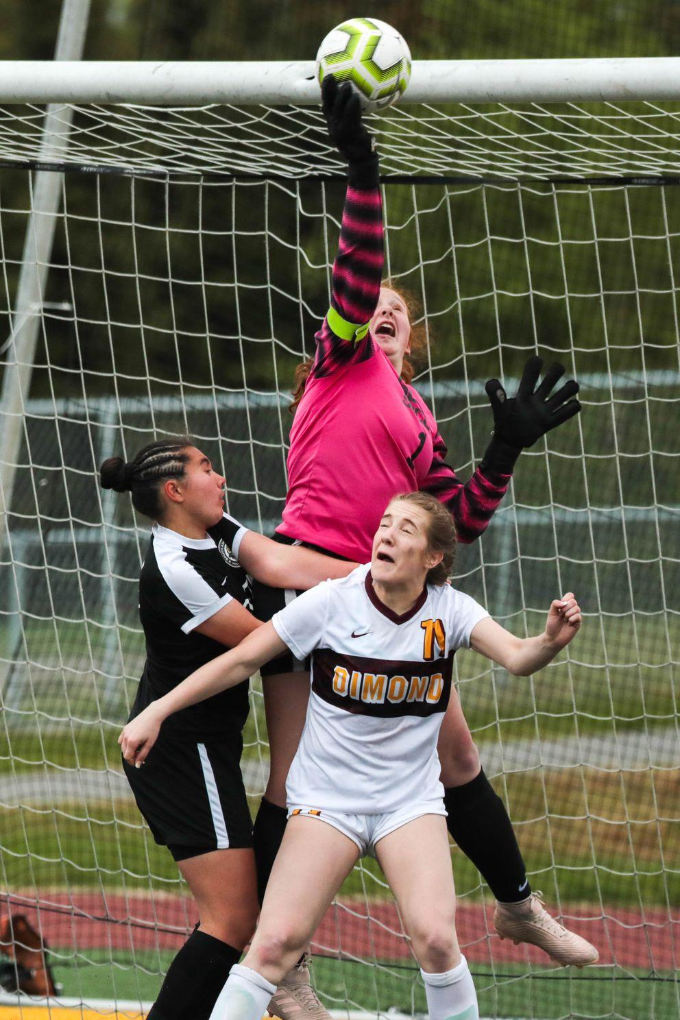 South goaltender Alexandra Nowka taps the ball over the net. (Loren Holmes / ADN)