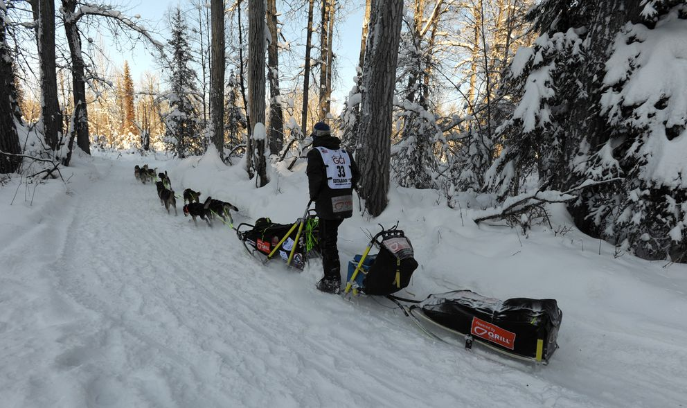 Joar Leifseth Ulsom drives his dog team during the Restart of the Iditarod Trail Sled Dog Race in Willow on Sunday, March 4, 2018. (Bill Roth / ADN)