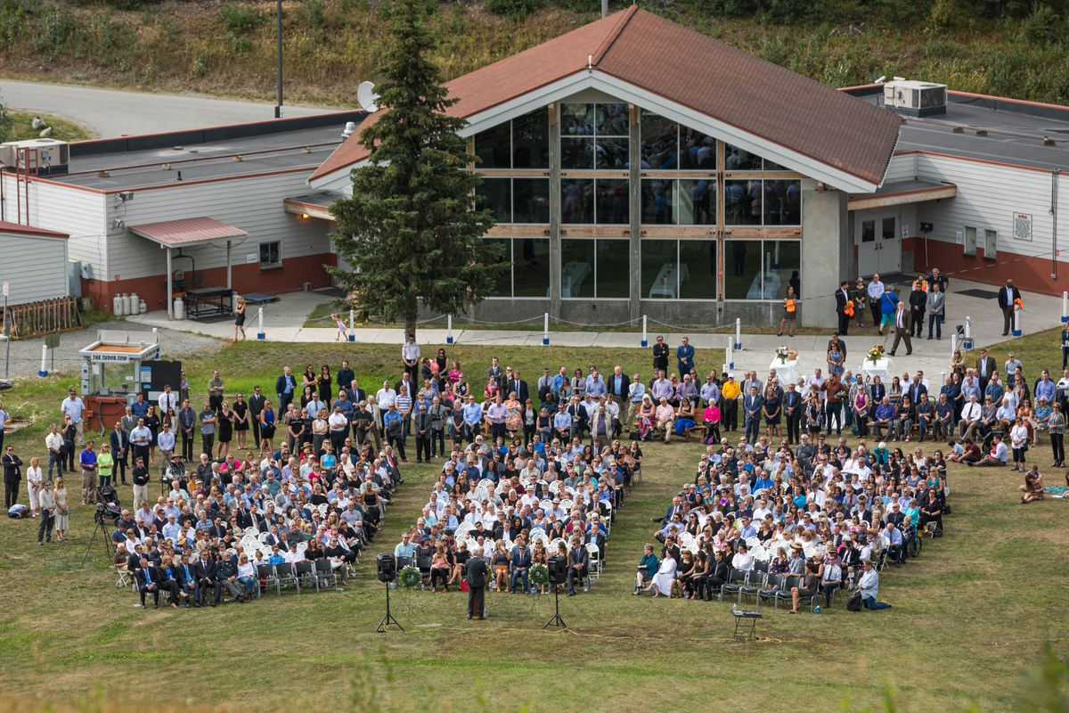 Hundreds of people gathered Thursday, Aug. 15, 2019 during a celebration of life for Chris Birch at Hilltop Ski Area. Birch, who died Aug. 7, was a state senator and former state representative and Anchorage assemblyman. (Loren Holmes / ADN)