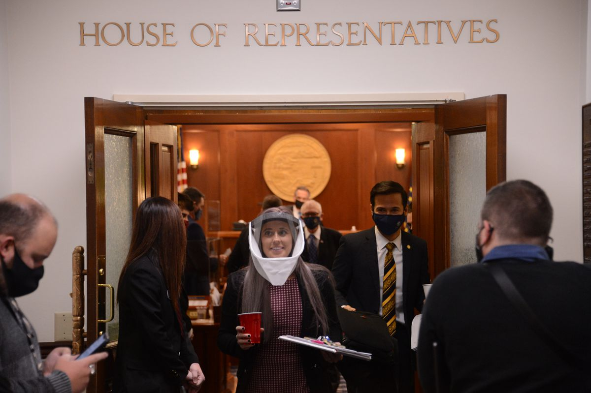 Rep. Sara Rasmussen, R-Anchorage, leaves the chambers of the Alaska House of Representatives in Juneau on Monday, Jan. 25, 2021. (James Brooks / ADN)
