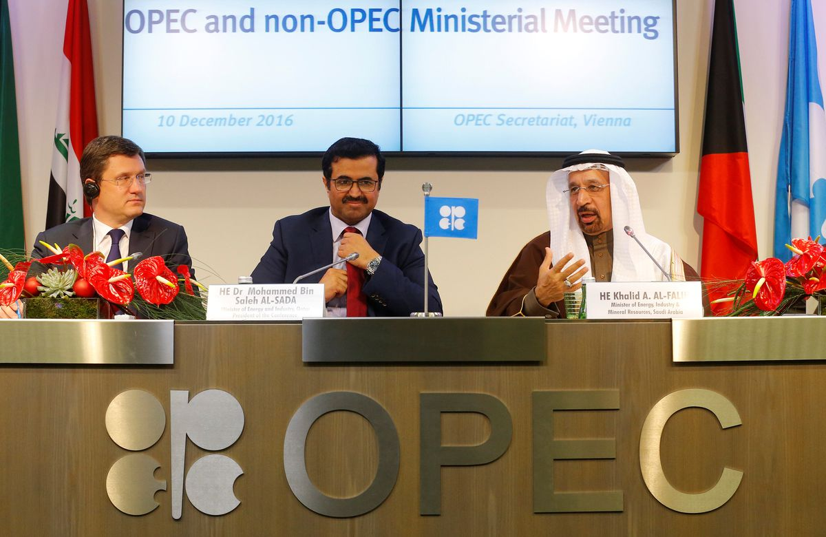 Russia's Energy Minister Alexander Novak, OPEC President Qatar's Energy Minister Mohammed bin Saleh al-Sada and Saudi Arabia's energy minister Khalid al-Falih (left to right) address a news conference after a meeting in Vienna, Austria, on Saturday. REUTERS/Heinz-Peter Bader