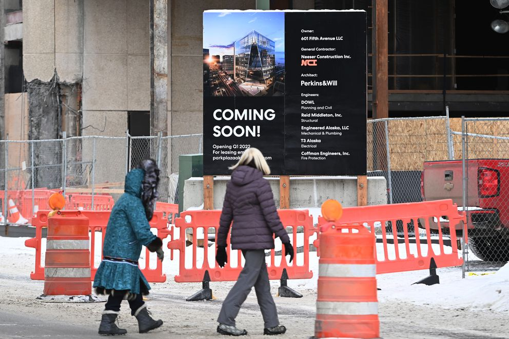 Renovation of the former Key Bank Plaza building at 601 Fifth Avenue on Thursday, Feb. 11, 2021. (Bill Roth / ADN)
