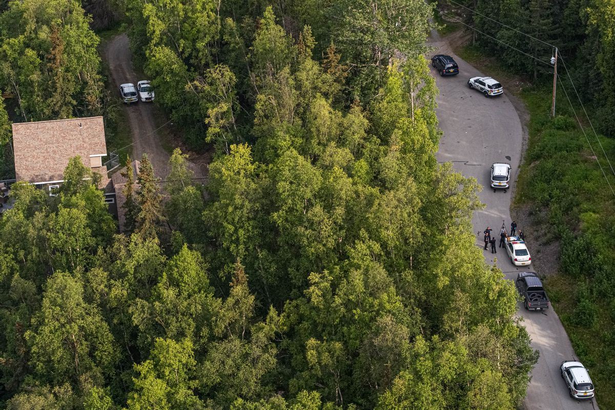 Anchorage Police respond to an officer-involved shooting on Steeple Drive in Eagle River on Thursday morning, July 30, 2020. (Loren Holmes / ADN)
