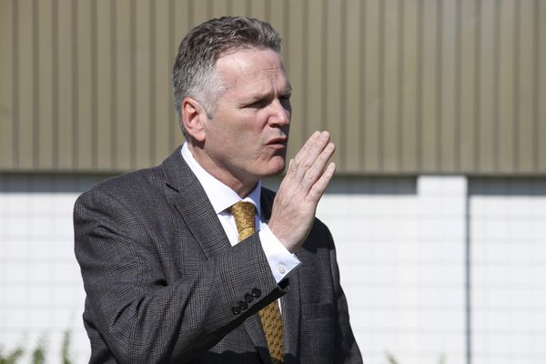 Alaska Gov. Mike Dunleavy speaks at a news conference Friday, June 14, 2019, in Wasilla, Alaska. Dunleavy has called lawmakers into special session July 8 in Wasilla, and his administration gave a tour of the recommended site at Wasilla Middle School to reporters. (AP Photo/Mark Thiessen)
