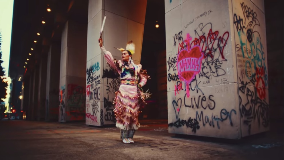 Jingle dress dancer Acosia Red Elk in 'Who's Gonna Stop Me, ' a new single released by Portugal. The Man on Indigenous Peoples Day. (Screengrab from YouTube)