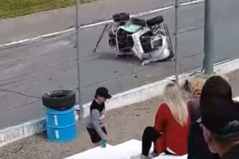 Lance Mackey crashed while racing at Wenatchee Valley Super Oval April 25, 2021. (YouTube Screenshot)