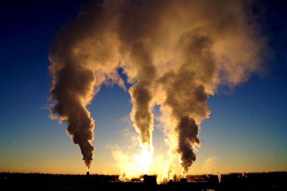 Location: UAF - Fairbanks, 11/30/2013 UAF power plant smokestacks on a -15 below day in Fairbanks, Alaska.