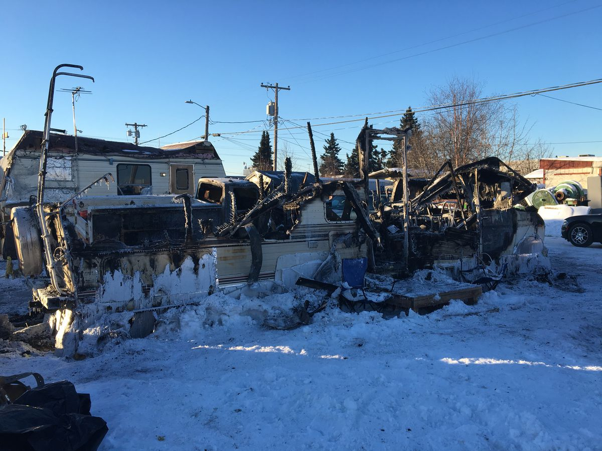 A motor home was destroyed in a fire that killed one person in Midtown Anchorage early on Thursday, Feb. 14, 2019. (Madeline McGee / ADN)