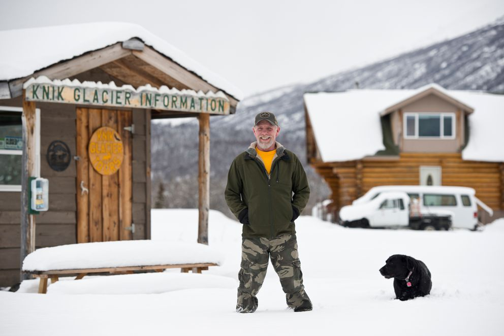 Tom Faussett, who owns property on the south side of the Knik River, said he doesn't have a problem with non-motorized users crossing his land on their way to visit Knik Glacier. The glacier has been a popular destination for winter bikers this season. (Marc Lester / Alaska Dispatch News)