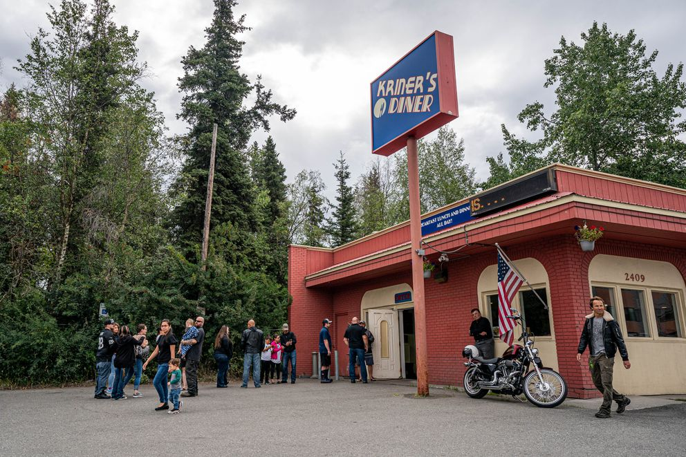 Customers wait outside Kriner's Diner on Saturday, Aug. 8, 2020 in Anchorage. The diner, owned by Andy and Norann Kriner, continues to serve customers indoors after the mayor issued Emergency Order 15, which went into effect Monday and bans indoor dining at restaurants and breweries but allows them to continue takeout service and outdoor dining. The order also closes all bars. (Loren Holmes / ADN)