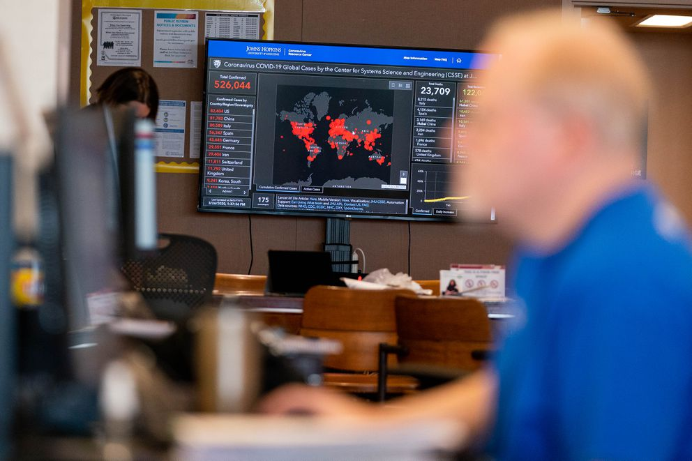 John Cecil, situation unit leader, works in the new municipal emergency operations center on Thursday, March 26, 2020 at the Loussac Library in Anchorage. (Loren Holmes / ADN)