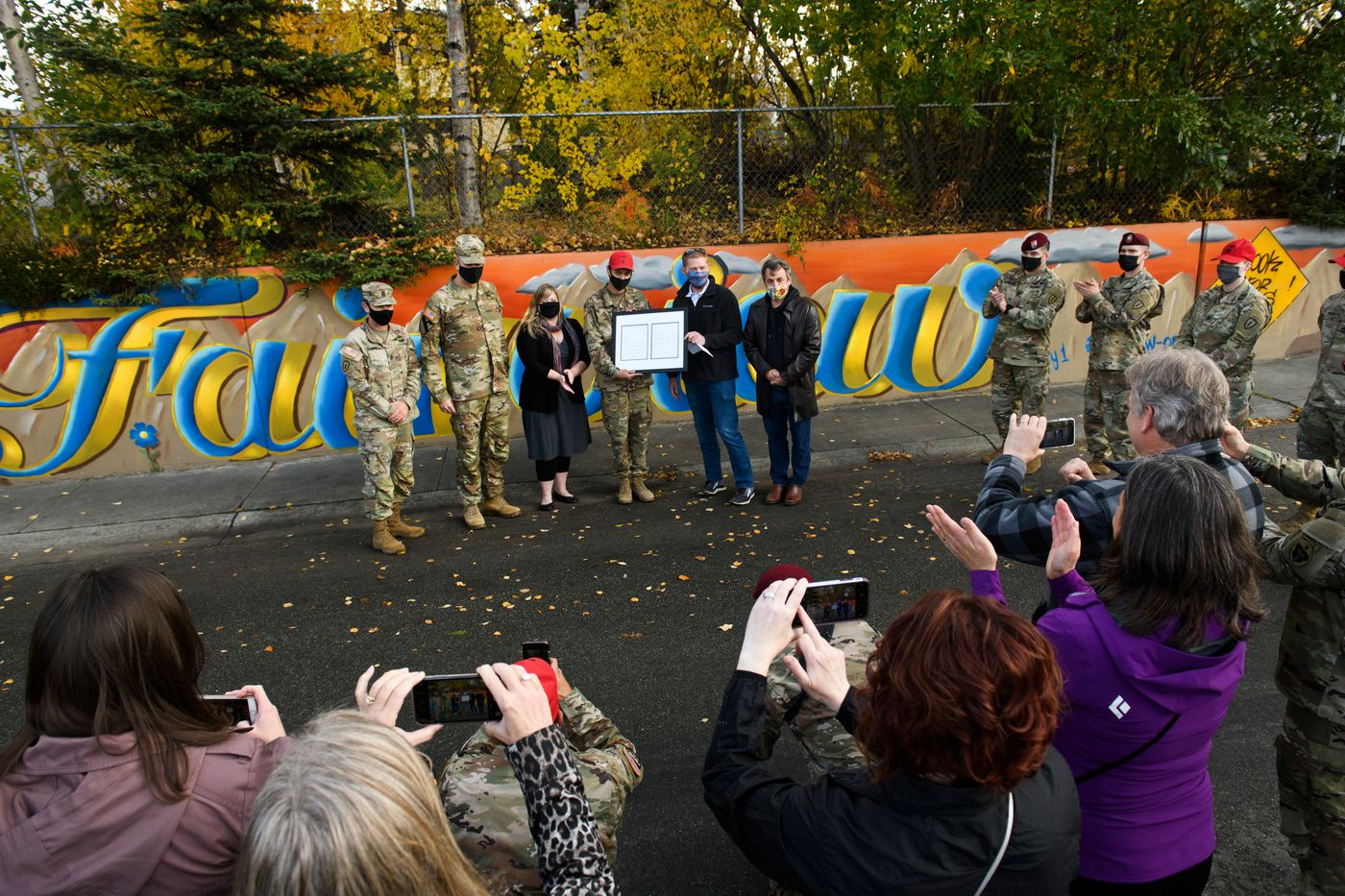 Spc. Andrew Garcia was given special recognition by the Alaska Legislatures Joint Armed Services Committee and by the U.S. Army Alaska commander for his mural on Hyder Street in Fairview on October 2, 2020. (Marc Lester / ADN)
