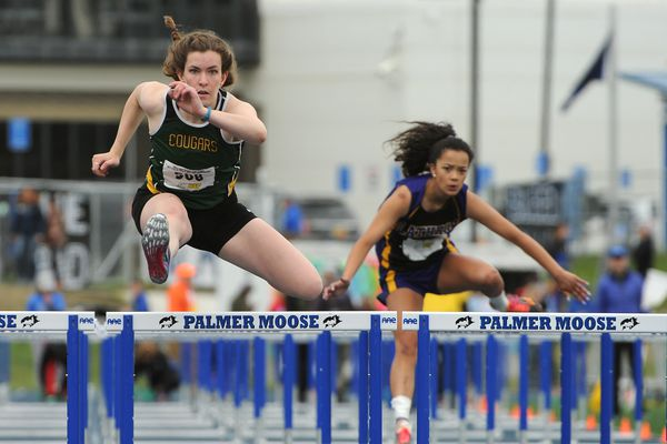 Racers compete in the hurdles at the 2017Alaska State Track & Field Championships in Palmer, Alaska on Friday, May 26, 2017. (Bob Hallinen / Alaska Dispatch News)