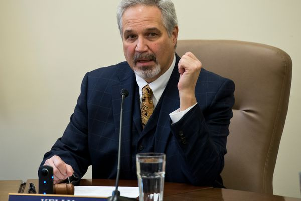 Fairbanks Republican Pete Kelly answers questions. Members of the Alaska Senate held a press conference before the Legislative session officially opened on January 17, 2017. (Marc Lester / Alaska Dispatch News)
