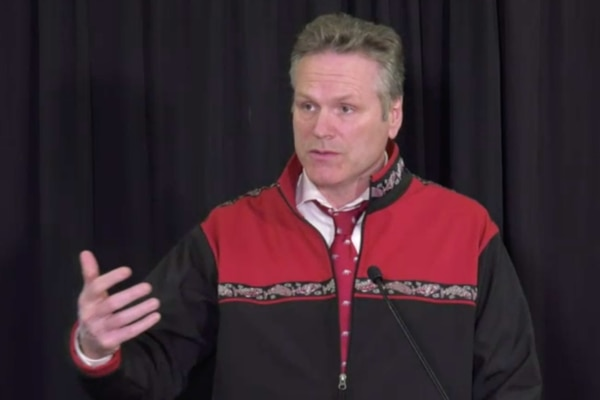 Gov Mike Dunleavy screen grab from daily briefing, 3/8