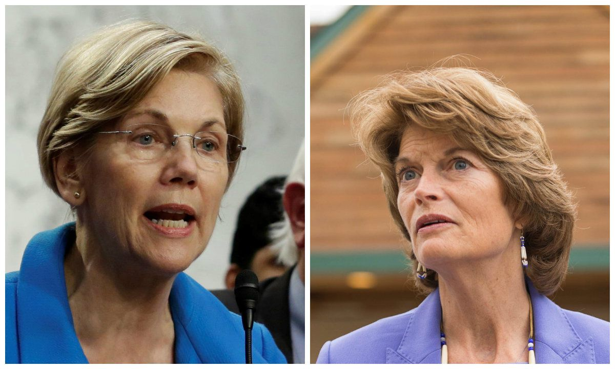 Sen. Elizabeth Warren and Sen. Lisa Murkowski (Yuri Gripas / Reuters and Loren Holmes / Alaska Dispatch News)
