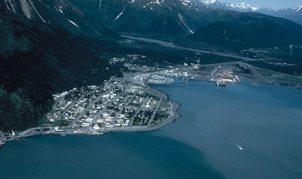 Downtown Seward, Alaska, is shown on the left, with the municipal airport on the right, at the head of Resurrection Bay in this undated photo. (U.S. Army Corps of Engineers)