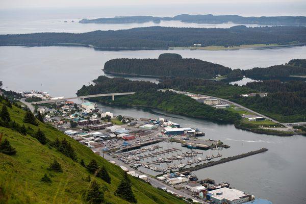 The city of Kodiak as seen from Pillar Mountain on Tuesday, July 21, 2015. (Marc Lester / Alaska Dispatch News)