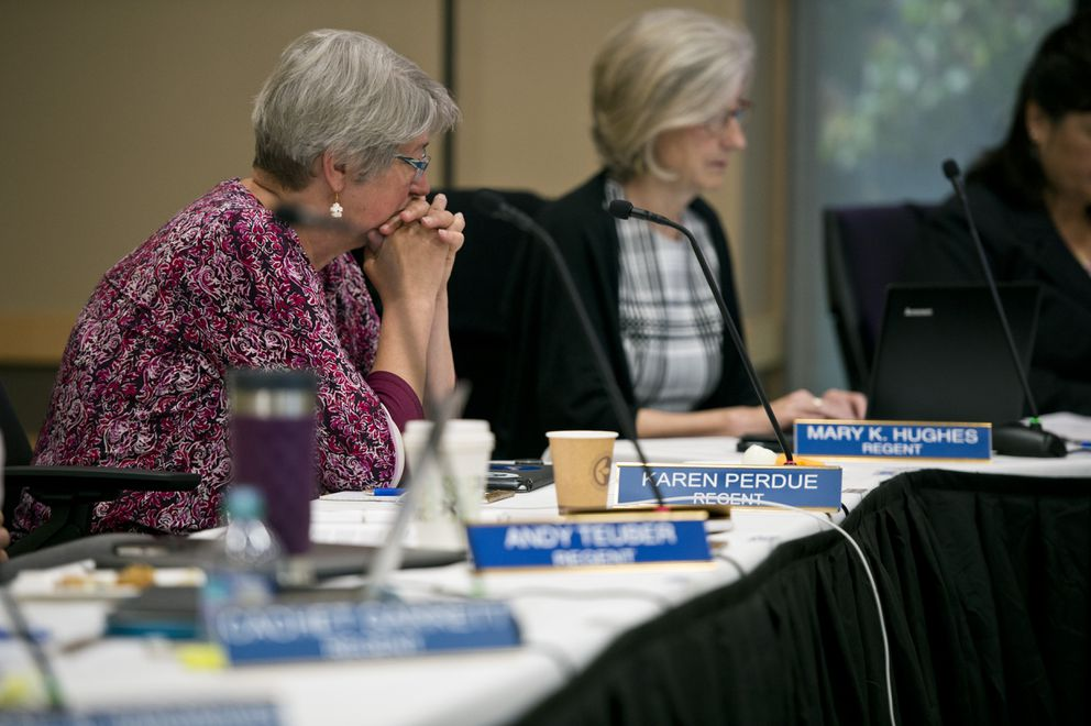 Regent Karen Perdue listens to discussion before the vote. (Marc Lester / ADN)
