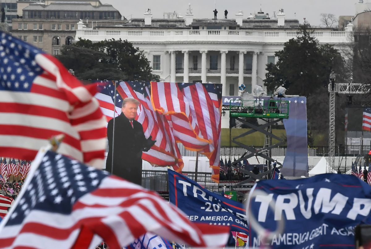 President Donald Trump addresses his supporters at a rally on Jan. 6. (Washington photo by Matt McClain)