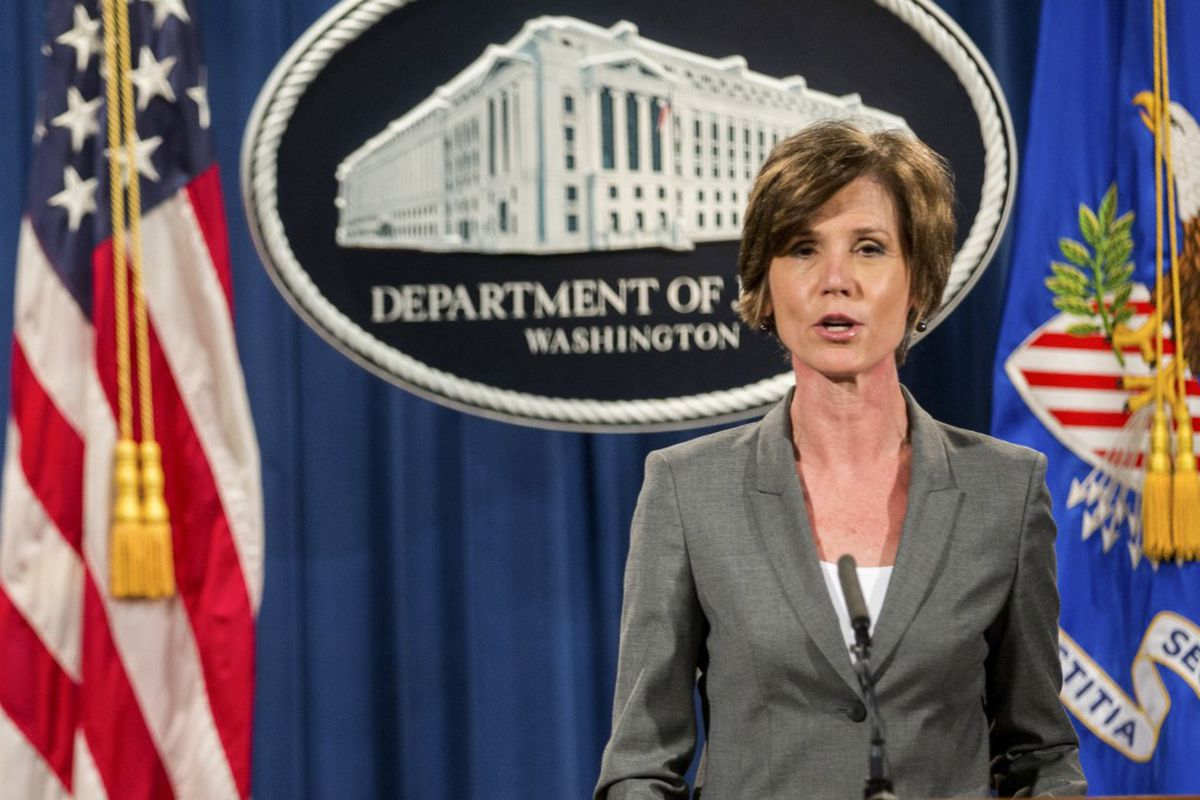 FILE — Sally Yates speaks during a news conference at the Department of Justice in Washington, June 28, 2016. Yates, a holdover from the Obama administration, was fired Monday after she ordered the Justice Department not to defend President Trump's executive order on immigration in court. (Zach Gibson/The New York Times)