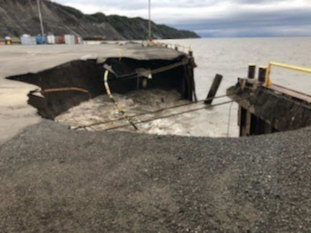 A portion of the Offshore Systems Kenai dock in Nikiski collapsed on Wednesday, Oct. 2, 2019. (U.S. Coast Guard)