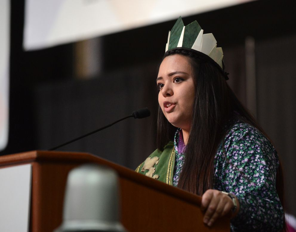 Macy Kenworthy speaks during the Alaska Federation of Natives Convention at the Dena'ina Center in Anchorageon Friday. Kenworthy received the Lu Young Youth Leadership Award. She is the reigning Miss Teen Arctic Circle and was runner-up in the Miss World Eskimo Indian Olympics competition. (Bob Hallinen / Alaska Dispatch News)