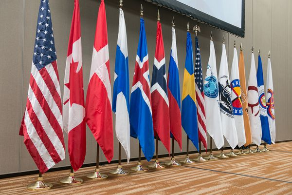 The flags of the eight Arctic Council Member States and six indigenous Permanent Participant organizations. (Linnea Nordström / Arctic Council Secretariat)