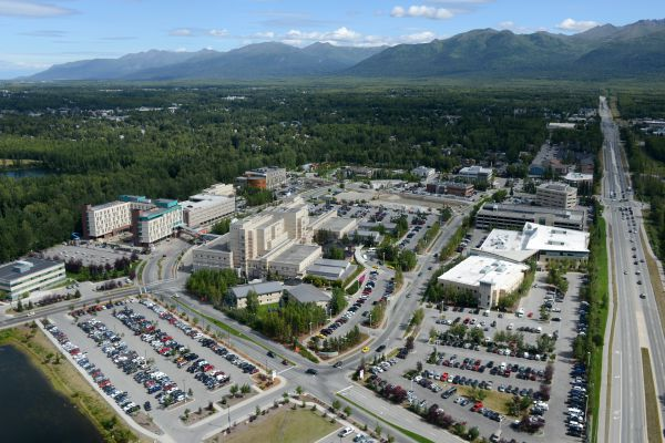 The Alaska Native Medical Center campus is viewed from the air on Wednesday, July 20, 2016. (Erik Hill / Alaska Dispatch News)
