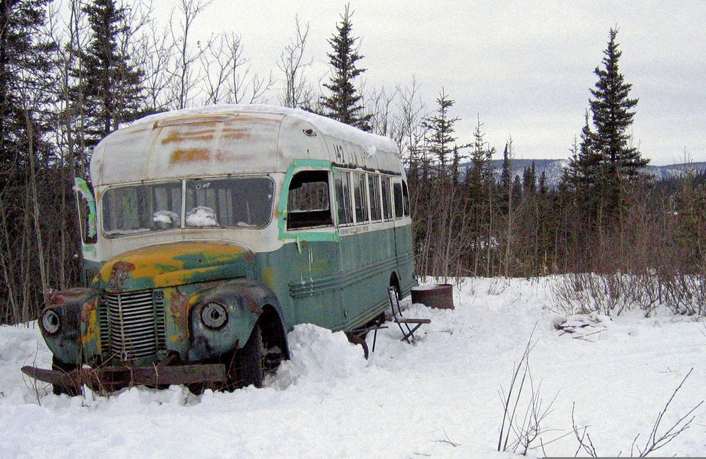 This March 21, 2006, file photo, shows the abandoned bus where Christopher McCandless died in 1992 on Stampede Road near Healy, Alaska. (AP Photo/Jillian Rogers, File )