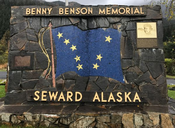 A memorial to Benny Benson shows his design for Alaska's flag in 1827, 32 years before Alaska became a state. (Madeline McGraw, Seward Library & Museum)