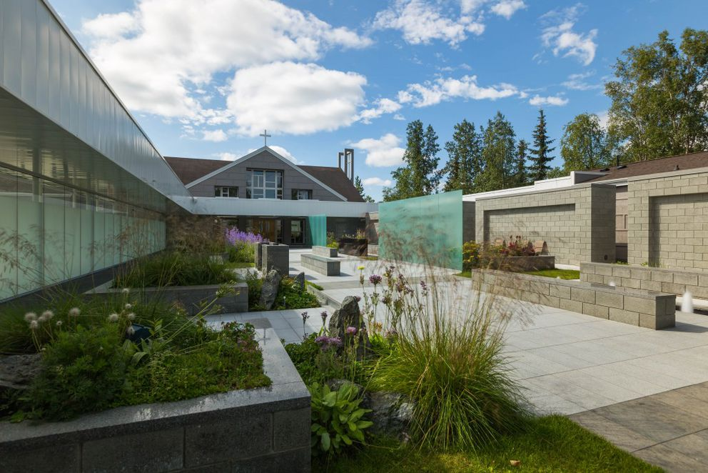 The Cloister garden at St. Patrick's Parish, photographed on Friday, July 15, 2016, is a new addition to the Anchorage Garden Club's annual city garden tour. (Loren Holmes / Alaska Dispatch News)