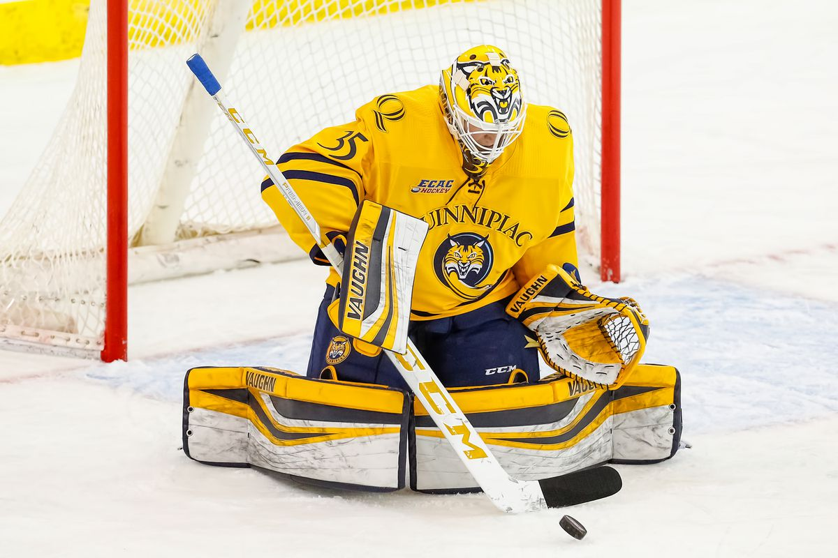 Quinnipiac University goalie Andrew Shortridge of Eagle River makes a save during the team's 2-1 overtime loss to Brown in the ECAC hockey tournament on March 15. (Photo by Rob Rasmussen/Courtesy of Quinnipiac Athletics)