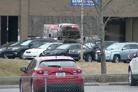 The scene of shooting in Marshall County High School is seen in Benton, Kentucky, U.S, January 23, 2018 in this still image obtained from Reuters TV. CBS /via REUTERS