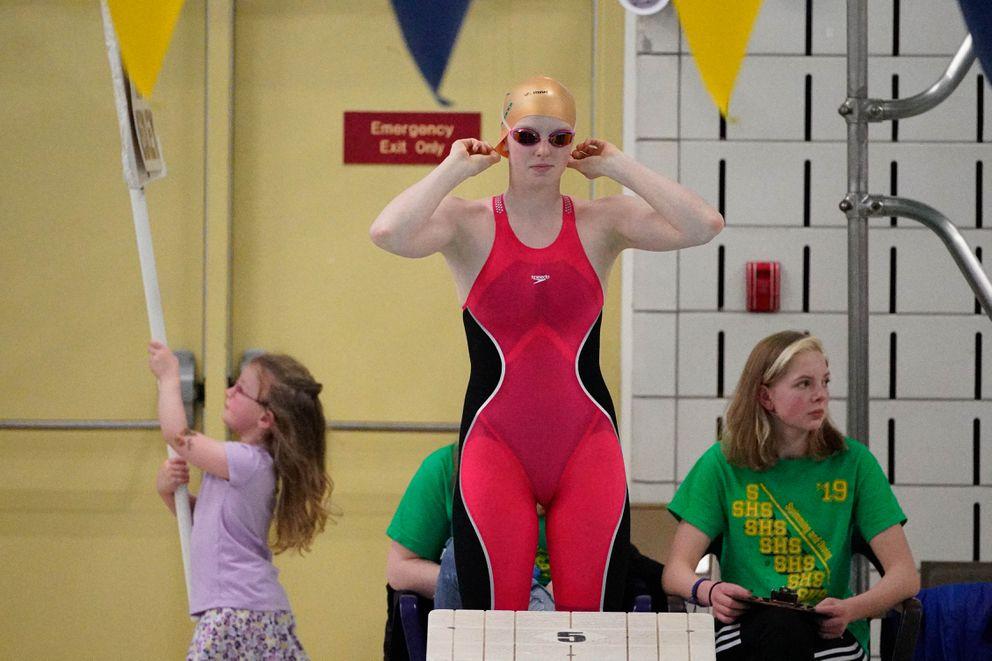 Seward's Lydia Jacoby prepares to swim the 200-yard individual medley race at last November's state high school championships at Bartlett High. (Loren Holmes / ADN)
