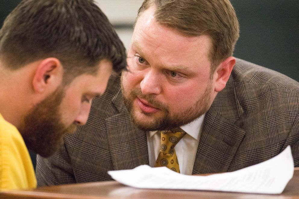 Attorney Patrick Bergt confers with his client, Track Palin, in Palmer District Court on Wednesday. (Loren Holmes / ADN)