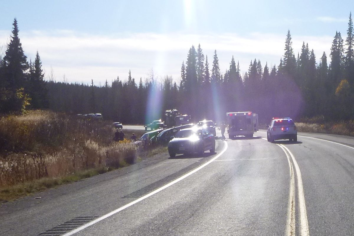 An accident at mile 185 on the Parks Highway killed four and injured more Monday afternoon. (Photo provided by AK State Troopers)
