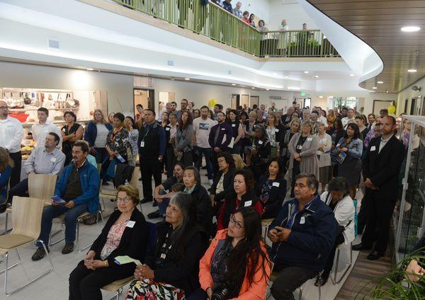 People gathered for the grand opening celebration of the new Ernie Turner residential treatment center on traditional Eklutna land in Chugiak on Thursday. (Bob Hallinen / ADN)