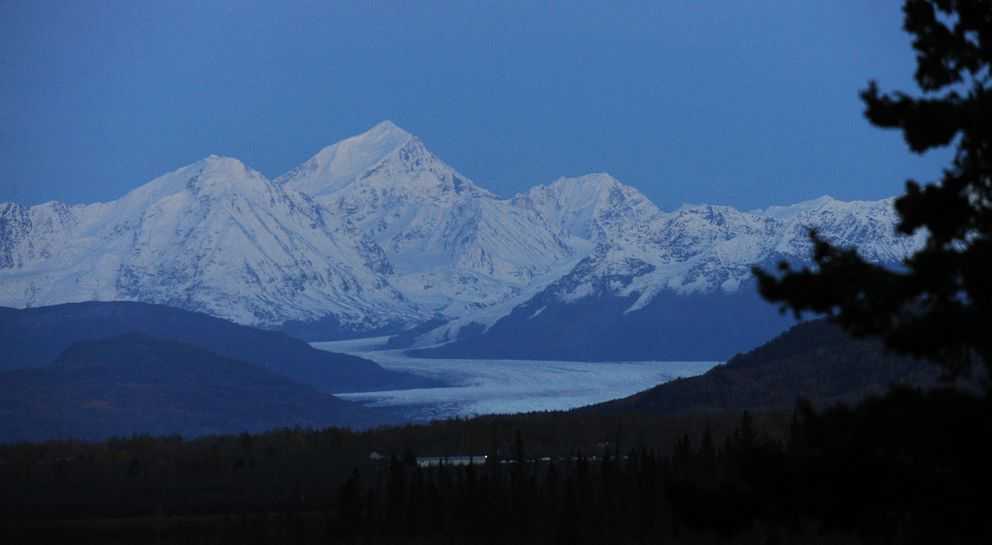 The Knik Glacier flows out of the Chugach Mountains, as seen from the Knik River Road southeast of Palmer, Alaska. September 29, 2016. (Bob Hallinen / Alaska Dispatch News)