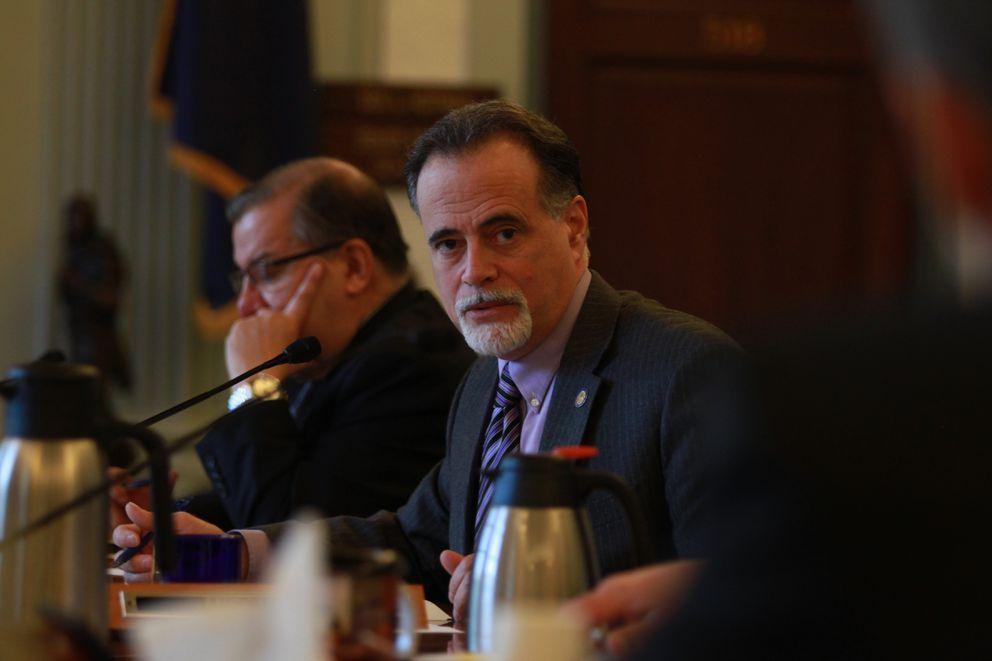 Soldotna Republican Sen. Peter Micciche talks at a Senate Finance Committee hearing in Juneau last year. (Nathaniel Herz / ÅDN)