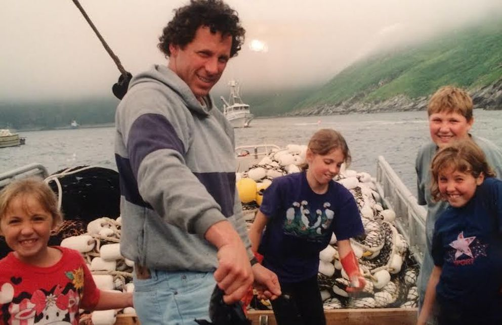 In 1996, the author, right, with her siblingsMemry, Sierra and Shelby along with their father Dean Anderson prepare for fishing aboard the Susan Gale out of Chignik. (Whitney Anderson photo)