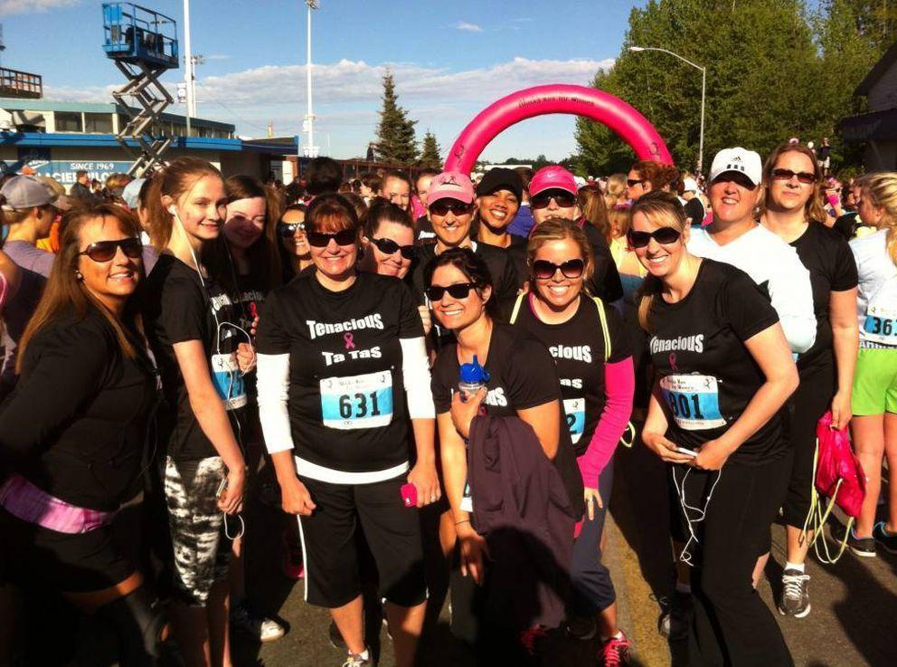 Runners wear 'Tenacious Ta-Tas ' T-shirts at the 2013 Alaska Run for Women. (ADN archives)
