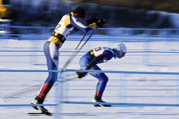 Marc Lester / Anchorage Daily News Tracen Knopp, left, and Max Donaldson compete in a J2 race. Cross country ski racers competed in classic sprint races at Kincaid Park as part of the Besh Cup racer series on Saturday, December 22, 2012.