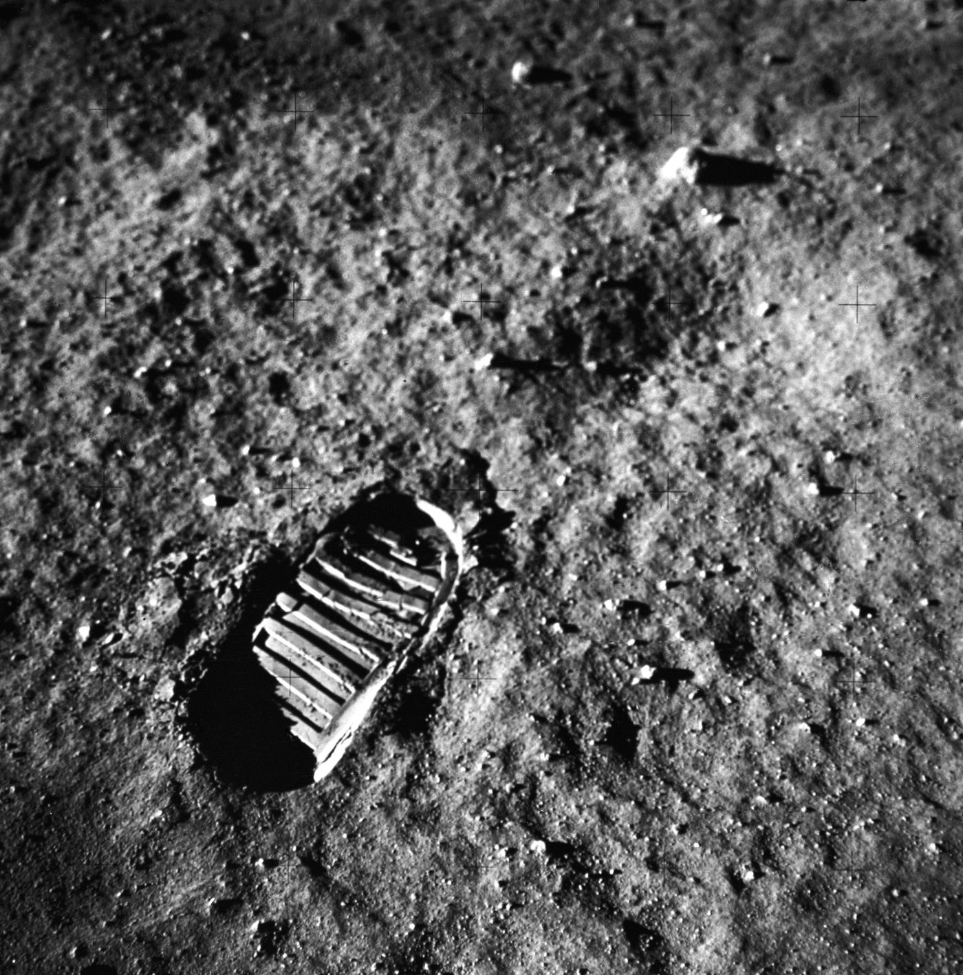 Astronaut footprint in the lunar soil NASA
